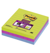 Haftnotizen SuperSticky 100 x 100mm 3-farbig liniert 3 x 70 Blatt