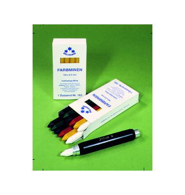 Farbminen fetthaltig rund weiß 8,5x100mm 12 Stück