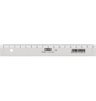 Kunststoff-Lineal 711160000 glasklar 16cm mit Facette und Tuschekante