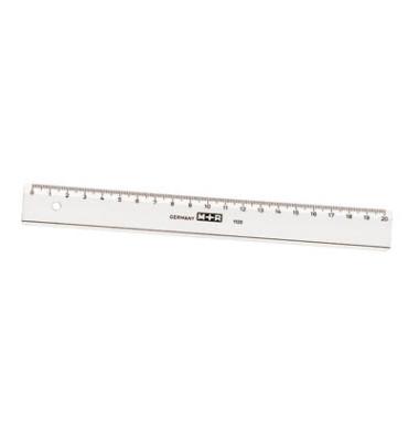 Kunststoff-Lineal 711200000 glasklar 20cm mit Facette und Tuschekante