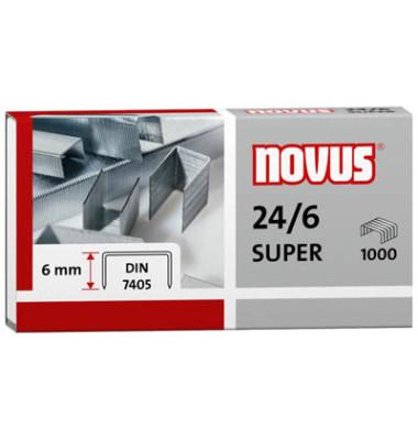 Heftklammern super 040-0026, 24/6, verzinkt, Heftleistung 30 Blatt max., 1000 Stück