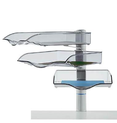 Briefablageset CopySwinger A4 / B4 lichtgrau-transparent 3 Fächer