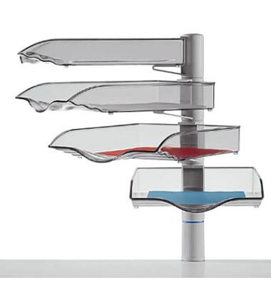 Briefablageset CopySwinger A4 / B4 lichtgrau-transparent 4 Fächer