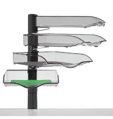 Briefablageset CopySwinger A4 / B4 anthrazit-transparent 4 Fächer