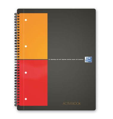Collegeblock Activebook 100104329, A4+ kariert, 80g 80 Blatt, 4-fach-Lochung, mit Register