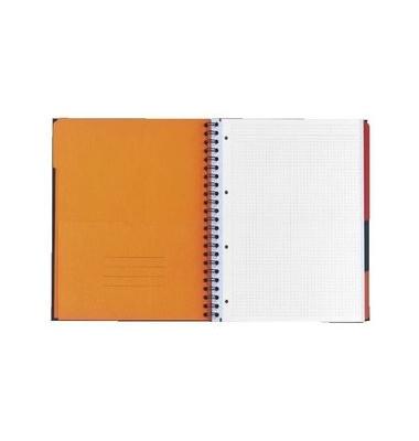 Collegeblock International Filingbook 100100739, A4+ kariert, 90g 100 Blatt, 4-fach-Lochung, mit Register