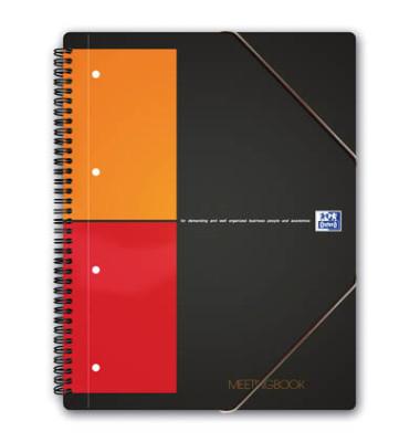 Meetingbook A4+ 5mm-kariert 4-fach geloch 80 Blatt mit Gummizug