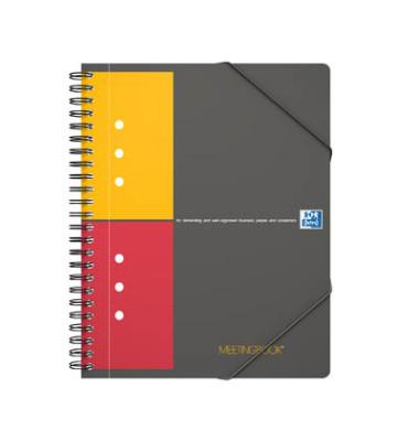 Meetingbook A5+ 5mm-kariert 4-fach geloch 80 Blatt mit Gummizug