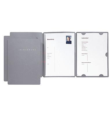 Bewerbungsmappe 22002 Select 3-teilig A4 bis 10 Blatt grau