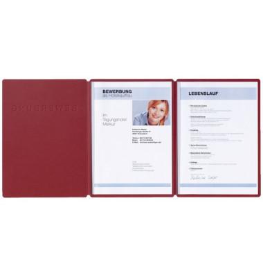 Bewerbungsmappe 22009 Supreme 3-teilig mit 2 Klemmen A4 rot