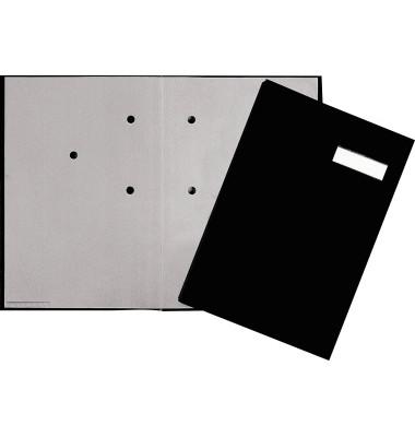 Unterschriftenmappe 24052 A4 Leinen schwarz mit Einsteckschild 5 Fächer