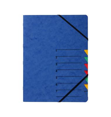 Ordnungsmappe A4 Easy blau Pressspan 7 Fächer