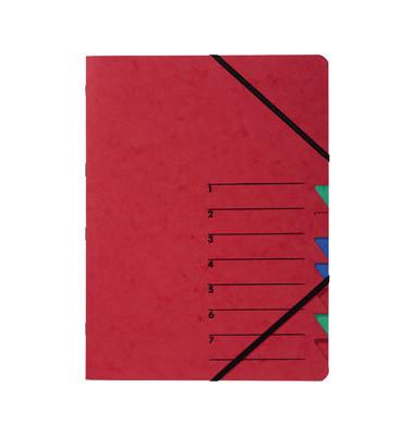 Ordnungsmappe m.Eckspanngummis rot A4 7-teilig Easy
