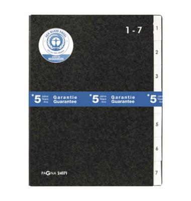 Pultordner A4 Einteilung 1-7 schwarz A4 Karton