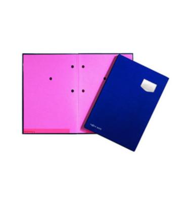 Unterschriftenmappe de Luxe 24102 A4 Kunststoff blau mit Einsteckschild 10 Fächer