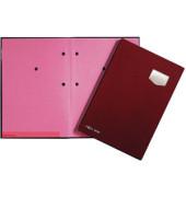 Unterschriftenmappe de Luxe 24102 A4 Kunststoff rot mit Einsteckschild 10 Fächer
