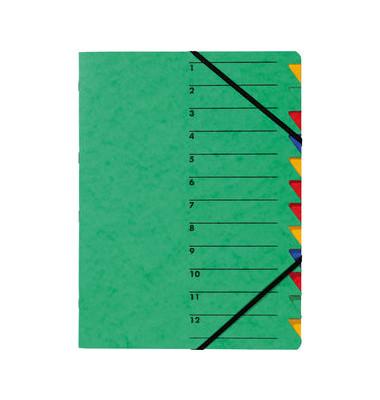 Ordnungsmappe A4 grün Pressspan 12 Fächer mit Eckspanngummi
