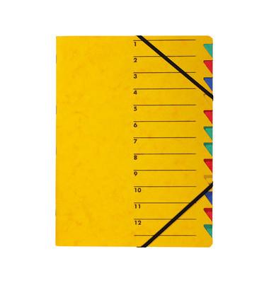 Ordnungsmappe A4 gelb Pressspan 12 Fächer mit Eckspanngummi