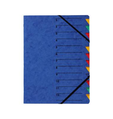 Ordnungsmappe A4 blau Pressspan 12 Fächer mit Eckspanngummi