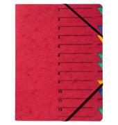 Ordnungsmappe A4 rot Pressspan 12 Fächer mit Eckspanngummi