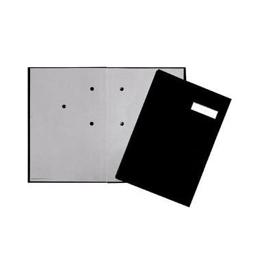 Unterschriftenmappe 24191 A4 Leinen schwarz mit Einsteckschild 20 Fächer
