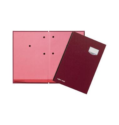 Unterschriftenmappe de Luxe 24202 A4 ECO rot mit Einsteckschild 20 Fächer