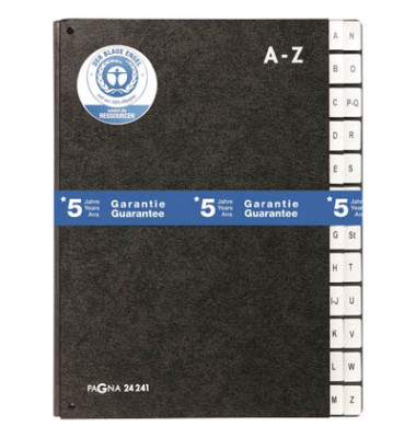 Pultordner 24241 A4 Recyclingkarton schwarz A-Z 24-teilig