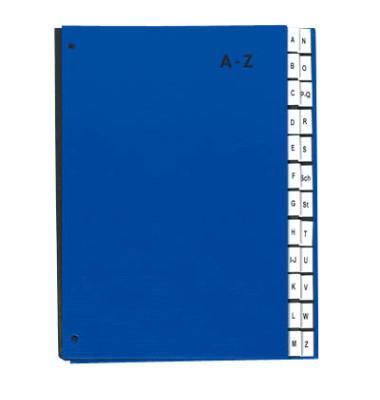 Pultordner 24249 A4 Recyclingkarton blau A-Z 24-teilig