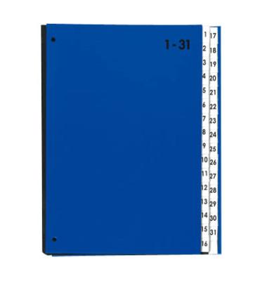 Pultordner 24329 A4 32 Fächer 1-31 Color-Einband blau 32-teilig Kunststoff