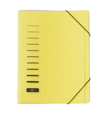 Ordnungsmappe A4 gelb PP 6 Fächer mit Eckspanngummi