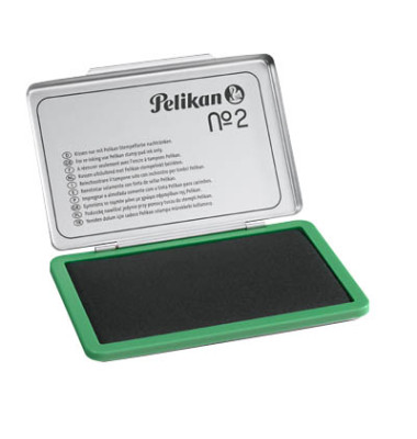 Stempelkissen 331033 No2 Größe 2 grün getränkt ohne Öl 11x7cm im Metallgehäuse