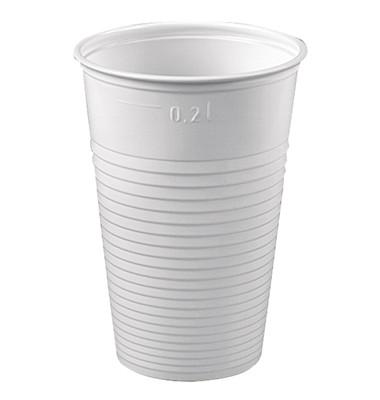 Trinkbecher PS gerillt 0,2 Liter weiß 7,03 x 9,9cm 100 Stück
