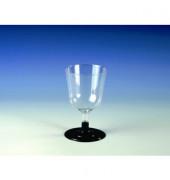 Einweg-Weißweingläser PS 0,1 L farblos/schwarz D:67/H:110mm 20 Stück