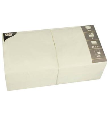 Serviette 3-lagig 1/4-Falz cremefarben 33x33cm 51g 250 Stück