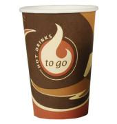 Trinkbecher Pappe To Go braun/weiß 300ml 50 Stück