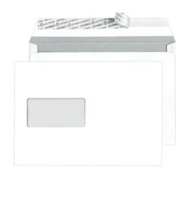 Versandtaschen TopStar C5 mit Fenster haftklebend 100g hochweiß 250 Stück Öffnung an der langen Seite
