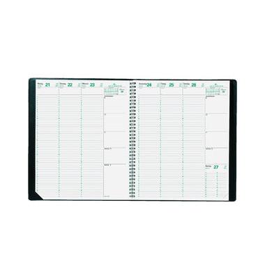 Buchkalender Eurequart 1Woche/2Seiten schwarz 24x30cm 2021