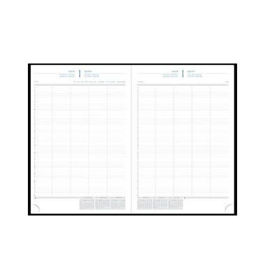 Buchkalender 29 1Tag/2Seiten schwarz 21x29,7cm A4 2018