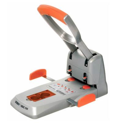 Locher HDC150 silber/orange 15mm 150 Blatt mit Anschlagschiene