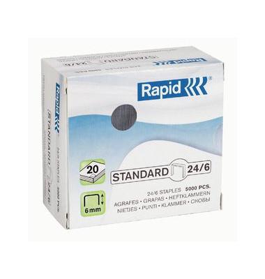 Heftklammern standard 24859800, 24/6, verzinkt, Heftleistung 20 Blatt max., 5000 Stück