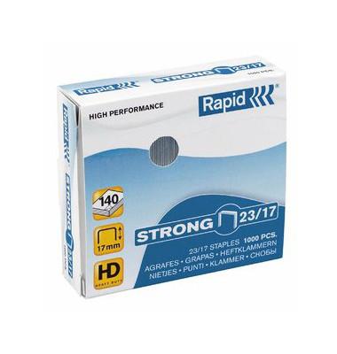 Heftklammern strong 24870300, 23/17, verzinkt, Heftleistung 140 Blatt max., 1000 Stück