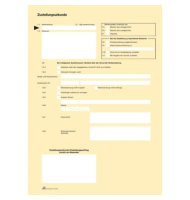 Postzustellungsurkunde 2046 A4 gelb 2 Seiten