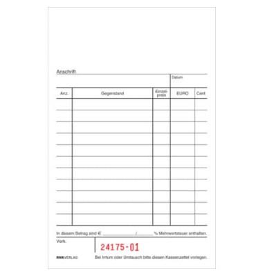 Kassenzettelblock 2952 oben geheftet schwarz/rot 15x10cm 2x50 Blatt