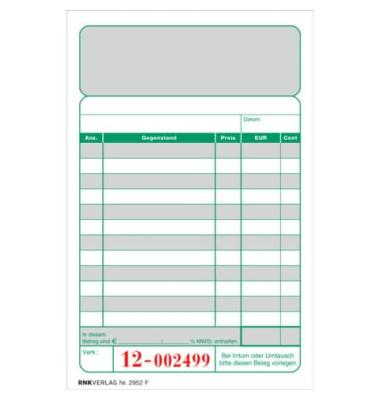 Kassenblock 2952F mit Nummerierung zweifarbig 15x10cm 2x 50 Blatt oben geheftet