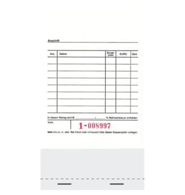 Kassenblock 2953 unten geheftet 15 x 10cm 2x50 Blatt