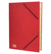 Ordnungsmappe, Glanzkart., Ecksp.gummi, blanko, A4, 9 Fächer, rot