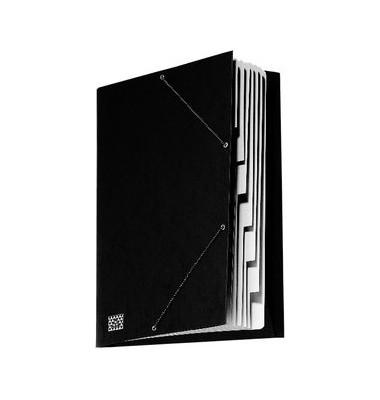 Ordnungsmappe mit Gummizug A4 schwarz 9 Fächer für 30 Blatt
