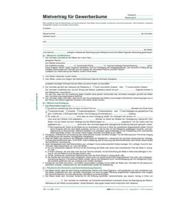 Mietvertrag für Gewerberäume 5 Blatt A4 selbstdurchschreibend