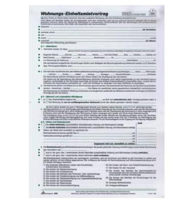 Mietvertrag für Wohnungen Standard A4