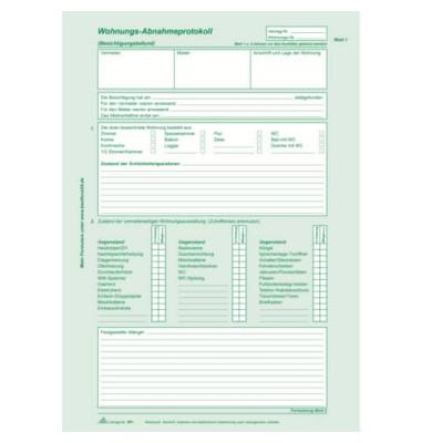 Wohnungs-Abnahmeprotokoll selbstdurchschreibend A4 2x2 Blatt